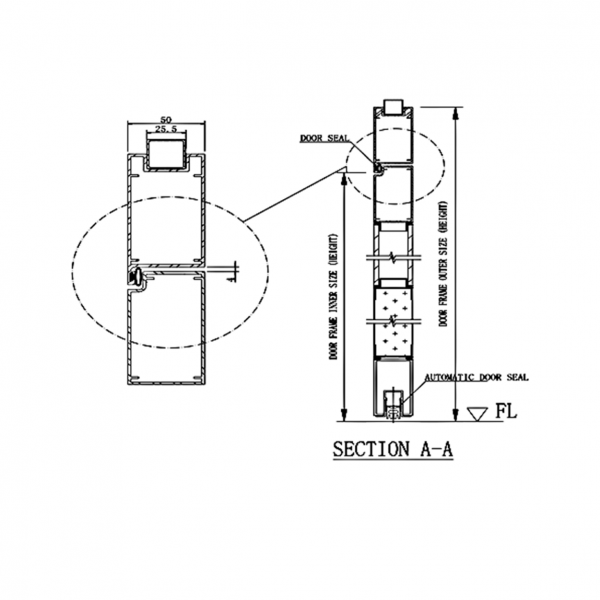 Pharmaceutical Door System Type DL1 Section Drawing2
